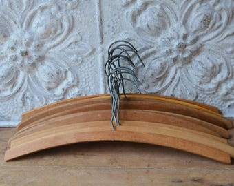Vintage Wood Hangers, Set Of 12