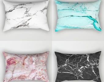 Marble Lumbar Pillow, Rectangular breakfast cushion, Black White Blue Pink Neutral Mauve Rust Grey Purple Turquoise Teal Stone Texture Rose