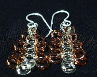 Amber Shift Glass Chain Earrings