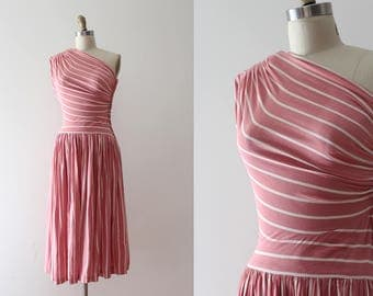 RARE vintage 1940s dress // 40s one shoulder striped day dress