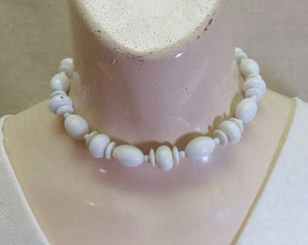 Vintage White Plastic Beaded Necklace, 15 Inches, White Bead Choker