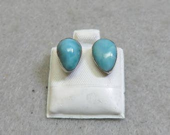 Petite Native American Sterling and Turquoise Pierced Earrings
