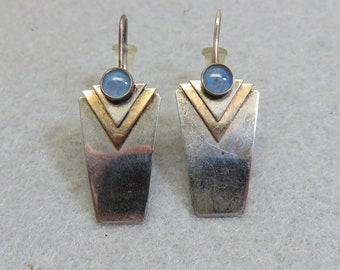 Sterling Silver Chalcedony Pierced Earrings, Vintage Art Deco Style, Silver and Gold