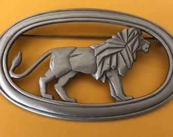 JJ Jonette Pewter Art Deco Lion Brooch