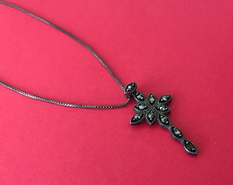 Small Glittery Marcasite Studded Sterling Silver Cross On Sterling Silver Box Chain