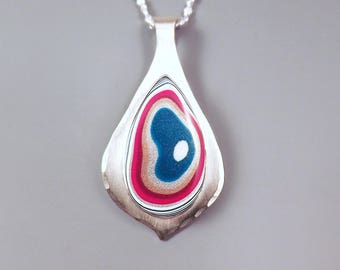 Fordite- Detroit Agate- Brilliant Metallic Colors- Teardrop Design- Michigan Made- One of a Kind- Silver Fordite Pendant