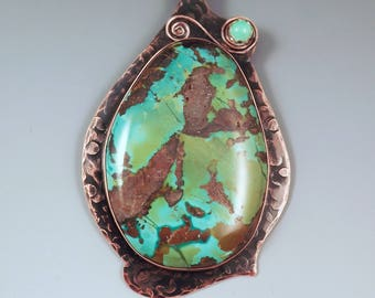 Turquoise and Chrysoprase- Hammered Copper Pendant- Smoky Copper Patina- Metal Art Turquoise Necklace