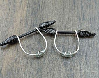 Black Angel Wing Nipple Barbell Jewelry