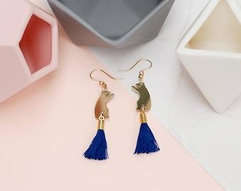 Brass Bear Earrings with Blue Tassels