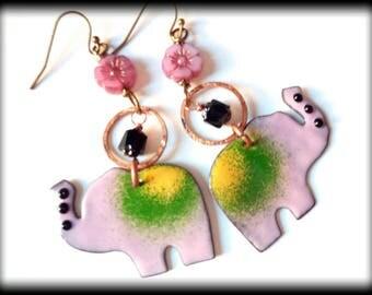 Elephant Earrings, Pink Green, Ethnic, Eclectic, Summer