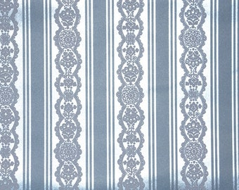 Retro Flock Wallpaper by the Yard 70s Vintage Flock Wallpaper - 1970s Blue Stripe and Blue Flocked Lace