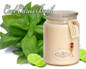 Cool Citrus Basil Scented Candles - Soy Candles- Soy Candles -Eco Friendly - 100% Soy Wax, Clean Candle Fragarcne