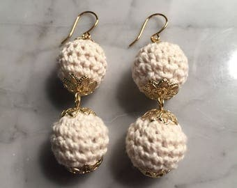 White Crocheted Ball Drops