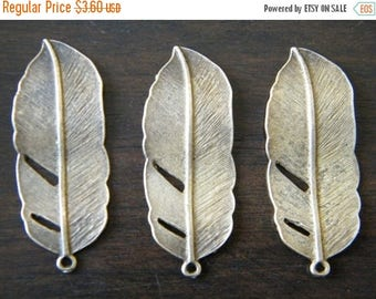 ON SALE 6 x Antique Brass Feathers Pendants Bronze Natural Feather Charms