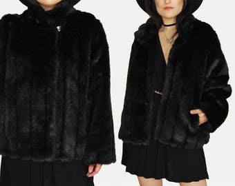 Black MINK Faux FUR Jacket Vtg 80s Jaclyn Smith Classic Comfy Soft Chunky Winter Witchy GOTH Minimalist Gothic Mystic Coat - Medium/Large