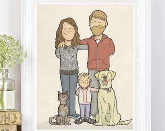 Custom Family Portrait - Personal Family Portrait - Bespoke Family Portrait - Family Illustration - Family Cartoon