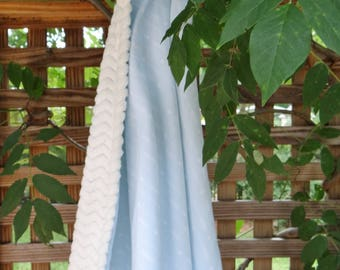 Arrow Baby Blanket ~ Spa Blue with White Arrows Baby Blanket ~ Tribal Baby Stroller Blanket
