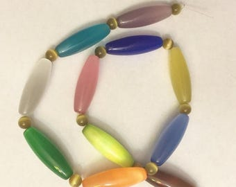 """Great Sale New Cats Eye Beads 1/4 x 1  1/4"""" Multicolor With 4 mm Spacer Cats Eye Beads 11 Beads Each"""