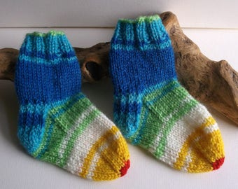 Unisex. Rainbow hand knitted self patterning baby girls or boys socks. 9 to 18 months. UK 3  EU 19  US 3.5