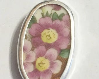 Broken China Jewelry, Pendant.sterling Silver , OOAK, Pink Flowers