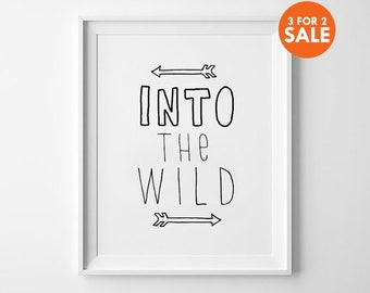 Into the Wild Print, Movie Posters, Motivational Wall Arts, Quote Posters, Minimalist, Black and White, Doodle