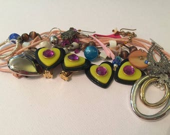 Vintage Destash Jewelry Lot/ Junk Jewelry/ Earring and Necklace Parts/ From Re-Purposed Jewelry /Altered Art/ 21 Pieces