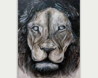 Original Black and White Lion Painting,  Modern Animal  Art, Figurative Art, Acrylic On Canvas, Fine Animal Art, Home Decor