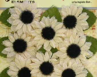 Canvas ivory sunflowers with black centers (set of 8) RS500-200 party wedding decor headband flowers hat rustic flowers scrapbooking