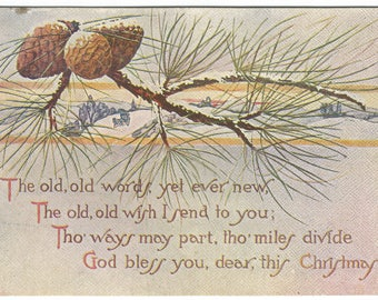 Snow Covered Winter Scene in Background with Pine Branch and Pine Cone in Foreground  Vintage Postcard Christmas