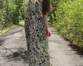 RESERVED gaia - stunning earthy floral cotton print spaghetti strap festival boho hippie pocket maxi dress small