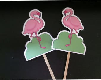Flamingo Cupcake Toppers Set of 30 with Free Shipping