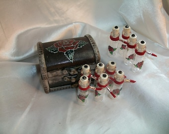 Red Rose Mini Apothecary Set  -  Embellished Trunk and Mini Bottles