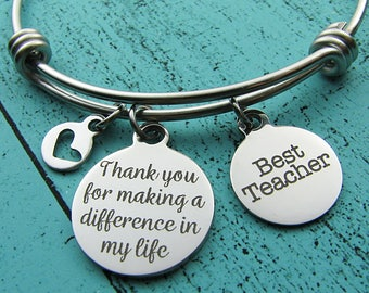 thank you gift for teacher mentor gift, best teacher gift bracelet, end of year teacher appreciation jewelry, best teacher personalized gift