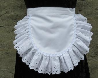 White Eyelet Ruffle Waist Apron Sexy Maid Rickrack Trim Half Apron