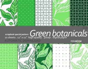 Botanical digital paper, Floral patterns, Mint leaf backgrounds, Green leaves digital papers Digital scrapbook, Instant Download, Organic