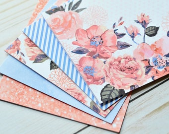 Floral Note Cards // Set of 5 // Blank Cards // Floral Stationary // Thank You Cards // Just Because // Thinking of You