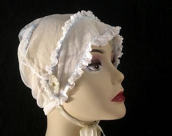 Vintage Antique Bonnet Embroidered Bonnet Net Women's Cap