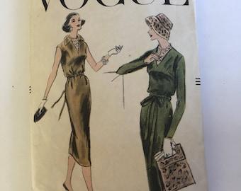 Vintage 50s Vogue Dress Pattern #8980 Sleeveless, Short or Long Sleeve Drawstring Dress Size 12