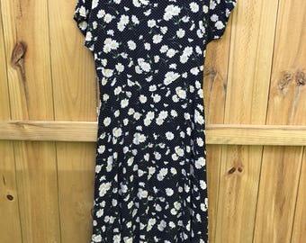 Vintage 90s Daisy Midi Dress / All That Jazz Rayon Midi Dress / Floral Polka Dot 90s Midi Dress