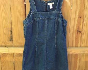 Vintage 90s Denim Jumper Dress / 90s Jean Dress
