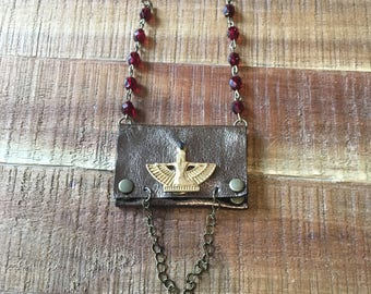 Leather Gift For Her-Women's Accessories-Pouch Necklace-Metallic Bronze Leather-Egyptian Goddess Isis- Hipster Bohemian Jewelry-Valentine's