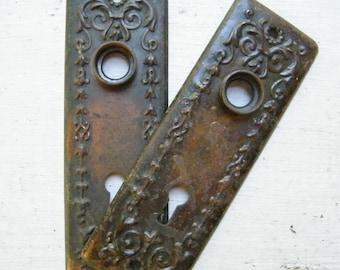 Old Vintage Pair Art Deco Door Knob Escutcheon Key Hole Backplates Door Hardware