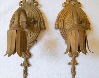 Vintage Pair Art Deco Wall Sconce Lamp Light Fixtures For Parts Use Repair  Restoration Part 83