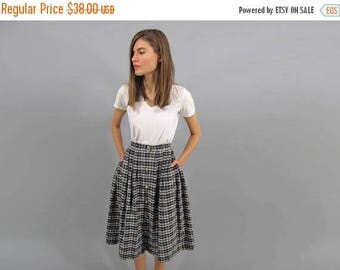On Sale - Full Plaid Skirt/ Vintage 80s Skirt / High-Waist Skirt / Cotton Skirt Δ size: S