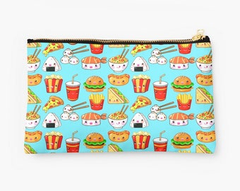 Kawaii Foods Pattern Studio Pouch, Cute Pencil Case, Cosmetic Bag, Makeup Bag, Gift for Her, Gift for Teens, Turquoise Pouch, Turquoise Bag