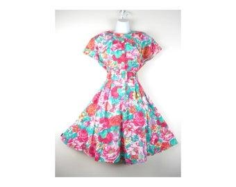 Vintage 80s Dress Bright Floral Tea Party Garden STUART ALAN 16 Petite Made in USA