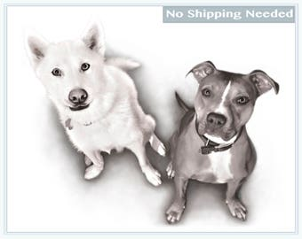 Custom Two Dog Pet Portrait - Bespoke Portrait Sketch From Photo - Portrait Sketch - Dog Art - Dog Portrait - NO POSTAGE NEEDED Digital File