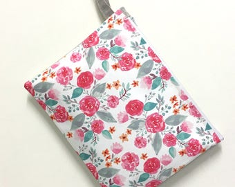 Large size wet bag. Florals. Great size wet bag for cloth nappy diapers.