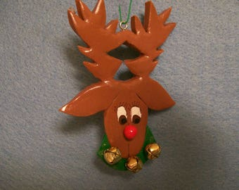REINDEER green collar christmas ornament FIMO CLAY