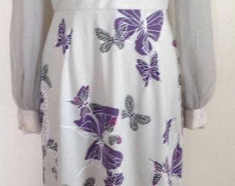 Alfred Shaheen maxi butterflies long dress